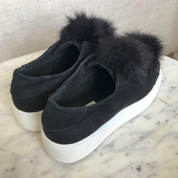 f4c35abdf1b Steve Madden platform black fur ball sneakers. M 5ab691b9a6e3ea3a81efd0e3